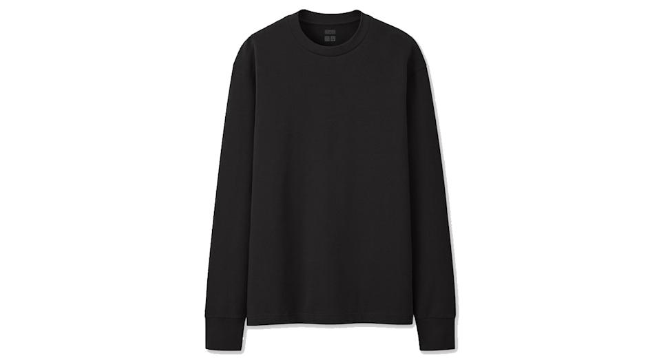 Men Uniqlo Heattech Cotton Crewneck Thermal Top