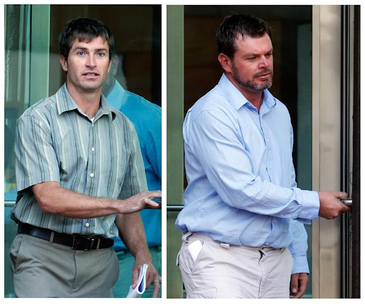 FILE - This photo combination of Sept. 26, 2013 file images show Ryan Jensen, left, and Eric Jensen leaving federal court in Denver, after a hearing on federal charges of introducing adulterated food into interstate commerce. The two Colorado farmers whose cantaloupes were tied to a 2011 listeria outbreak that killed 33 people pleaded guilty on Tuesday, Oct. 22, 2013, to misdemeanor charges under a deal with federal prosecutors. (AP Photo/Ed Andrieski, File)