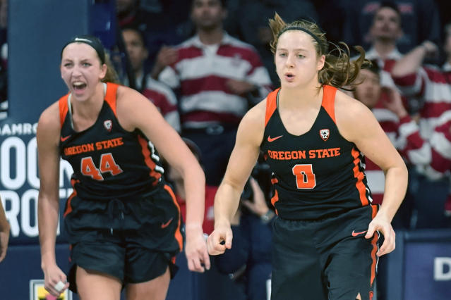 Oregon State guard Mikayla Pivec (0) and forward Taylor Jones react to Pivec's go-ahead jumper in the final seconds of the team's NCAA college basketball game against Arizona on Friday, Jan. 10, 2020, in Tucson, Ariz. Oregon State won 63-61. (AP Photo/Rick Scuteri)
