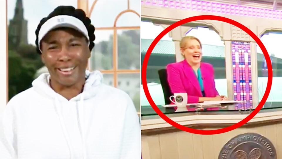 Venus Williams (pictured left) laughing after she was asked about her 'love life' in an interview on ESPN (pictured right).