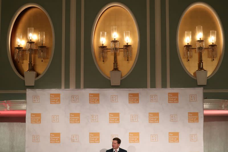 Jay Clayton, Chairman of the U.S. Securities and Exchange Commission, speaks at the Economic Club of New York luncheon in New York City