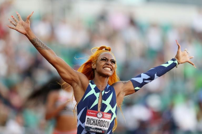 Sha'Carri Richardson celebrates her 100m victory at the US Olympic track and field trials on Saturday