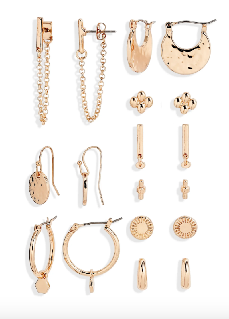 9-Pair Set of Goldtone Earrings are on sale now during the Nordstrom Made sale.