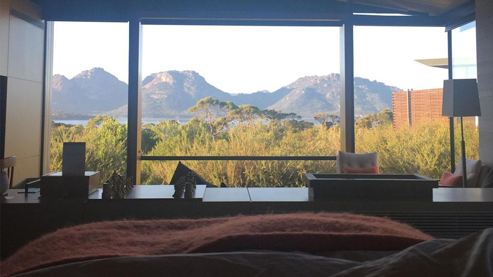 Travellers might be familiar with the popular picture of the breathtaking view guests have from their beds. Photo: Lucy-Mae Beers