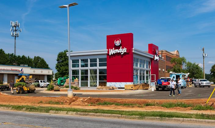 Hickory, NC, USA-15 August 18: A new Wendy's nears completion, with an updated look.