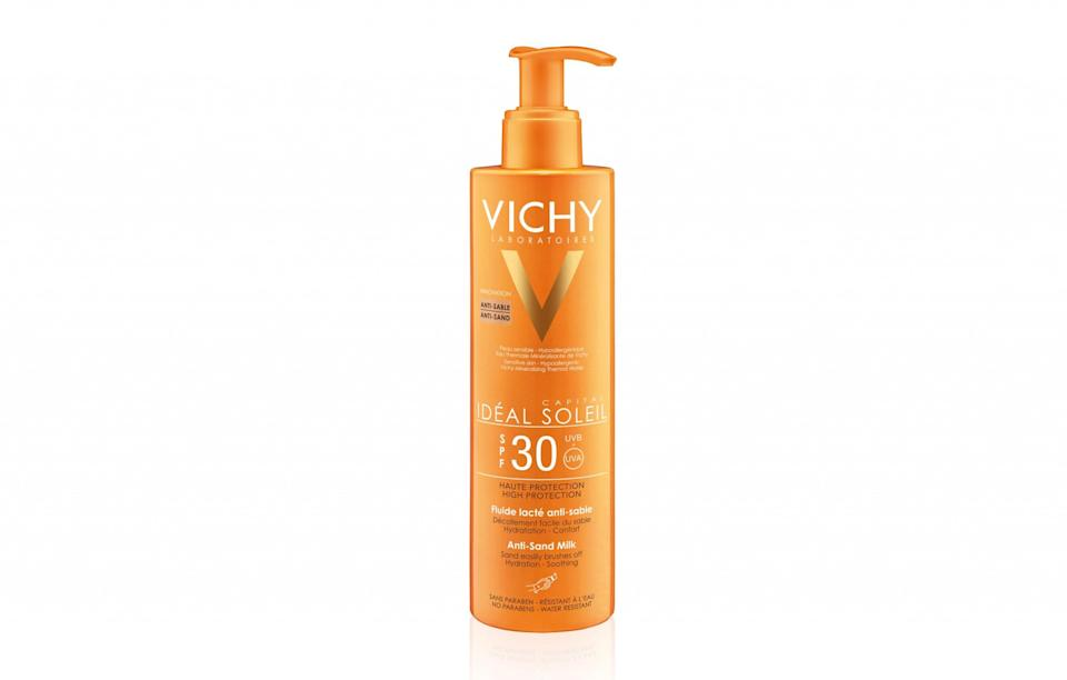 """<p>There's little more annoying than trying to getting rid of the sand caked on your skin after a day at the beach. Vichy's anti-sand formula comes as a milk rather than cream, meaning it's light and non-sticky. It also smells incredible, which is a bonus.<br><a rel=""""nofollow noopener"""" href=""""https://www.vichy.co.uk/ideal-soleil-anti-sand-spf30-200ml-1"""" target=""""_blank"""" data-ylk=""""slk:Vichy, £17"""" class=""""link rapid-noclick-resp""""><i>Vichy, £17</i></a> </p>"""