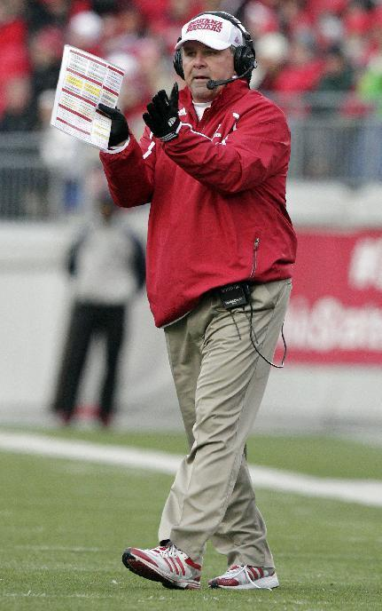 Indiana head coach Kevin Wilson instructs his team against Ohio State during the second quarter of an NCAA college football game Saturday, Nov. 23, 2013, in Columbus, Ohio. Ohio State won 42-14. (AP Photo/Jay LaPrete)
