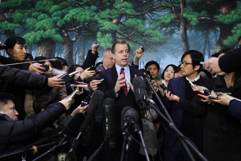 U.S. envoy to North Korea Glyn Davies speaks after meeting with South Korea's nuclear envoy Lim Sung-nam, unseen, at the Foreign Ministry in Seoul, South Korea, Thursday, Jan. 24, 2013. The North Korean military commission led by leader Kim Jong Un warned Thursday that the regime is poised to conduct a nuclear test in defiance of U.N. punishment, and made clear that its long-range rockets are designed to carry not only satellites but also warheads aimed at striking the United States. (AP Photo/Ahn Young-joon)