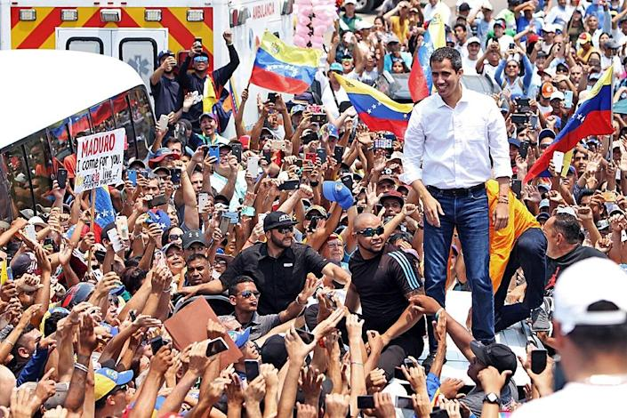 Venezuelan opposition leader and self-proclaimed interim president Juan Guaido, during a demonstration in Barcelona, Anzoategui State, on March 23, 2019 (AFP Photo/Carlos Landaeta)