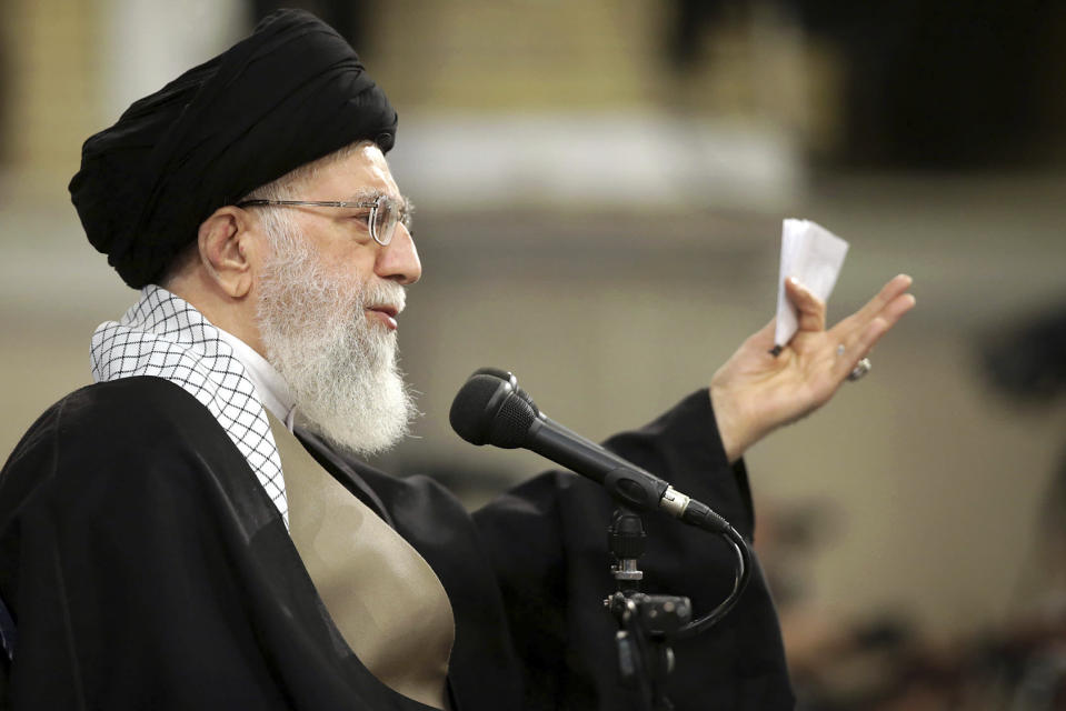 "In this picture released by an official website of the office of the Iranian supreme leader, Supreme Leader Ayatollah Ali Khamenei speaks at a meeting in Tehran, Iran, Wednesday, Jan. 9, 2019. Khamenei called U.S. officials ""first-class idiots,"" mocking American leaders as U.S. Secretary of State Mike Pompeo tours the Mideast. (Office of the Iranian Supreme Leader via AP)"