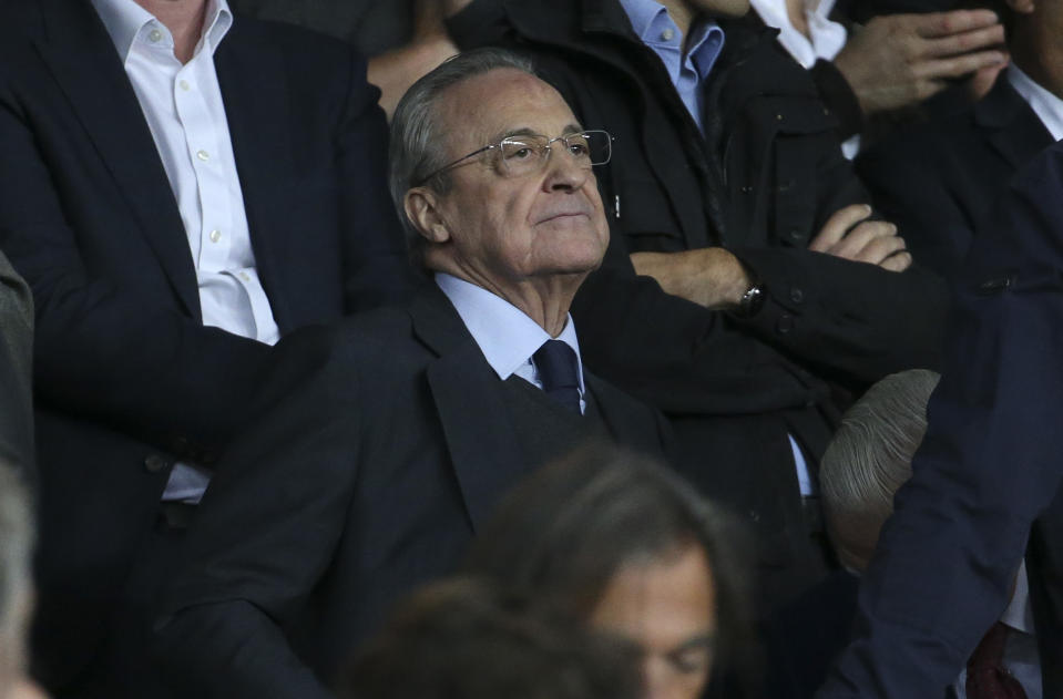 PARIS, FRANCE - SEPTEMBER 18: President of Real Madrid Florentino Perez attends the UEFA Champions League group A match between Paris Saint-Germain and Real Madrid at Parc des Princes stadium on September 18, 2019 in Paris, France. (Photo by Jean Catuffe/Getty Images)