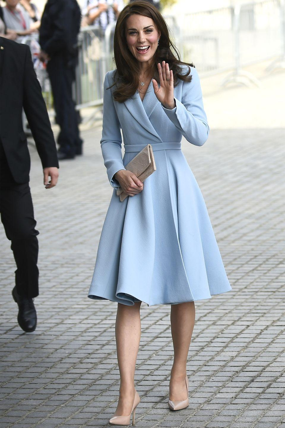 <p>In a powder blue Emilia Wickstead coat dress, nude pumps and a nude clutch during a royal visit to Luxembourg.</p>