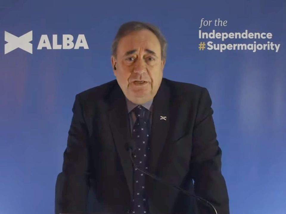 <p>Alex Salmond announces the foundation of his new Alba Party on 26 March</p> (Telegraph/YouTube)