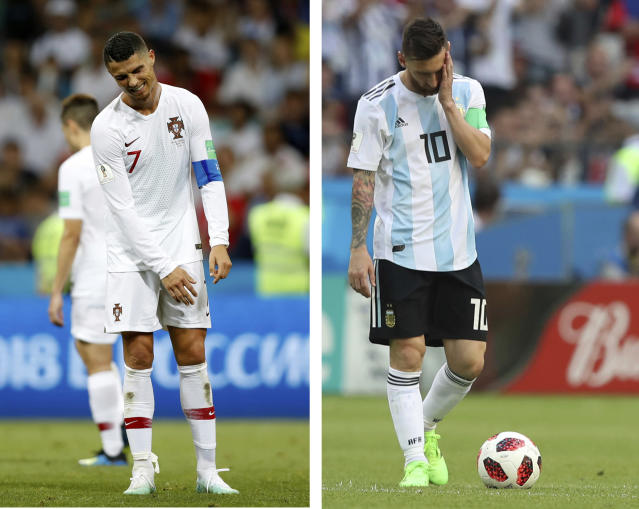 This combo photo shows Argentina's Lionel Messi, right, and Portugal's Cristiano Ronaldo reacting during their round of 16 matches respectively against France and Uruguay, at the 2018 soccer World Cup, at the Kazan Arena and at the Fisht Stadium in Sochi, Russia, Saturday, June 30, 2018. (AP Photo)