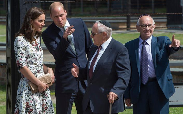The Duke and Duchess of Cambridge visit the Stutthof camp in 2017 with Zigi Shipper and Manfred Goldberg - JULIAN SIMMONDS