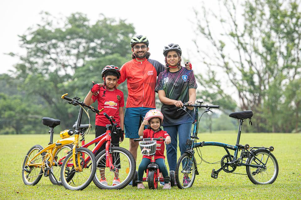 Nizam A Haja with his wife and kids. The avid cyclist was pleasantly surprised that his son Feroz Zidane and daughter Feyona Ziya asked to join him in the OCBC Cycle Virtual Rides this year. (PHOTO: OCBC Cycle)