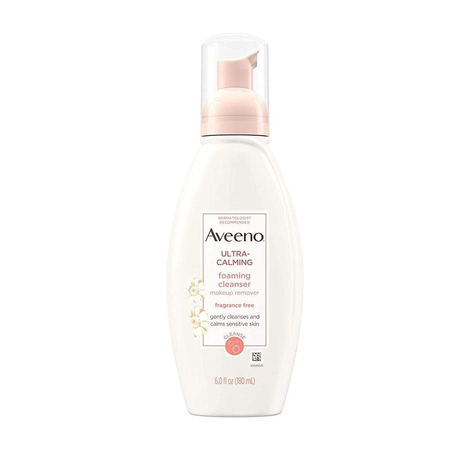 """The two-time <em>Allure</em> Best of Beauty-winning <a href=""""https://www.allure.com/review/aveeno-ultra-calming-foaming-cleanser?mbid=synd_yahoo_rss"""" rel=""""nofollow noopener"""" target=""""_blank"""" data-ylk=""""slk:Aveeno Ultra-Calming Foaming Cleanser"""" class=""""link rapid-noclick-resp"""">Aveeno Ultra-Calming Foaming Cleanser</a> is both fragrance- and soap-free, and it removes dirt, makeup, and oil, all without irritating or stripping skin. With <a href=""""https://www.allure.com/story/skin-care-terms-glossary-definitions?mbid=synd_yahoo_rss"""" rel=""""nofollow noopener"""" target=""""_blank"""" data-ylk=""""slk:feverfew extract"""" class=""""link rapid-noclick-resp"""">feverfew extract</a> to help soothe sensitivity and reduce redness, the formula is gentle enough for twice-daily use."""