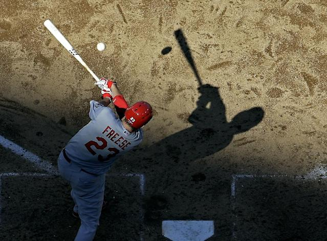 St. Louis Cardinals' David Freese grounds out during the seventh inning of Game 5 of the National League baseball championship series against the Los Angeles Dodgers Wednesday, Oct. 16, 2013, in Los Angeles. (AP Photo/Morry Gash)