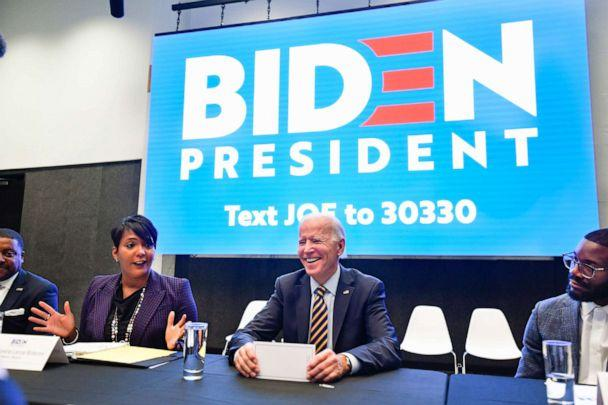 PHOTO: Vice President and 2020 Democratic presidential candidate Joe Biden reacts as he is introduced by Atlanta mayor Keisha Lance Bottoms during an assembly of Southern black mayors, Nov. 21, 2019, in Atlanta. (John Amis/AP)