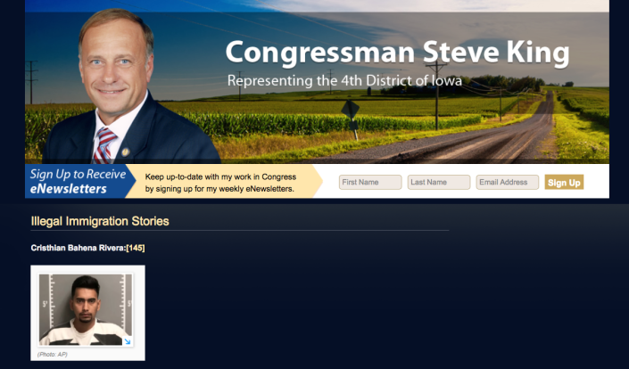 """Republican Rep. Steve King of Iowa highlights the arrest of Cristhian Bahena Rivera, the Mexican native charged with murder in the death of University of Iowa student Mollie Tibbetts, on a section of his website titled """"Illegal Immigration Stories."""" (Screenshot via Steveking.house.gov)"""