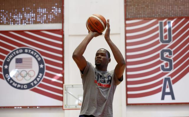 2016 Rio Olympics - Basketball - Preliminary - USA men's training session - Flamengo Club - Rio de Janeiro, BrazilKevin Durant (USA) of the U.S. is seen during training. REUTERS/Jim Young FOR EDITORIAL USE ONLY. NOT FOR SALE FOR MARKETING OR ADVERTISING CAMPAIGNS.