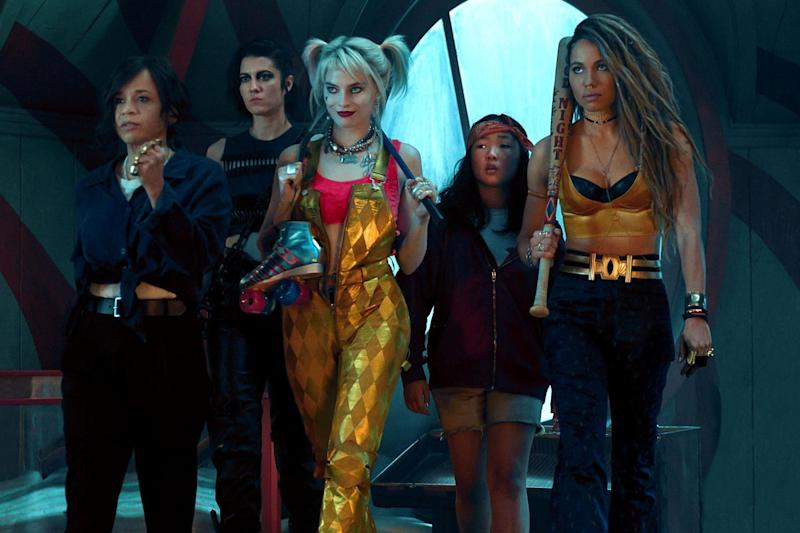 Rosie Perez, Mary Elizabeth Winstead, Margot Robbie, Ella Jay Basco and Jurnee Smollett-Bell in Birds of Prey: Photo by C Barius/DC/Warner Bros/Kobal/REX