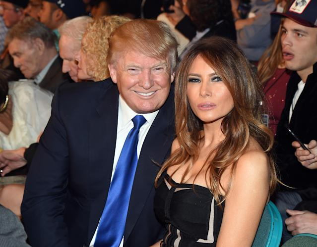 President Donald Trump and his wife, Melania, attend the Floyd Mayweather-Manny Pacquiao bout at the MGM Grand Garden in Las Vegas on May 2, 2015, about a month before he announced his candidacy for the presidency. (Photo by Ethan Miller/Getty Images)