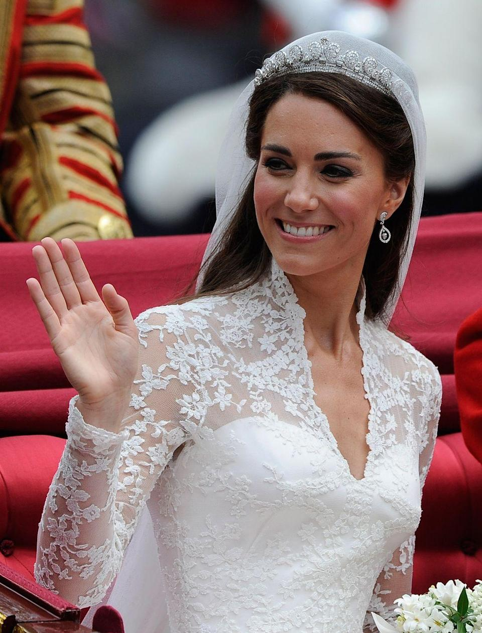 """<p>She took a few classes from Bobbi Brown makeup artist Hannah Martin because the Duchess of Cambridge insisted on <a href=""""https://people.com/royals/kate-middletons-wedding-day-makeup-all-the-beauty-products-she-used/"""" rel=""""nofollow noopener"""" target=""""_blank"""" data-ylk=""""slk:doing her own makeup"""" class=""""link rapid-noclick-resp"""">doing her own makeup</a> for her big day. She kept her overall look fairly natural for the ceremony and used Bobbi Brown eyeshadow shades """"Rockstar"""" and """"Ivory"""" to finish off her face.</p>"""