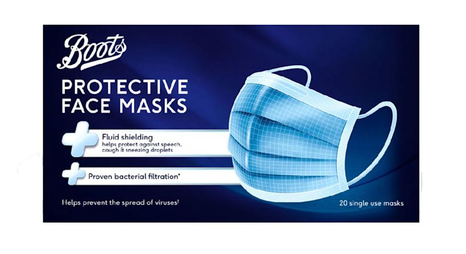 Boots 3PLY Adult Protective Face Mask - 20 Pack