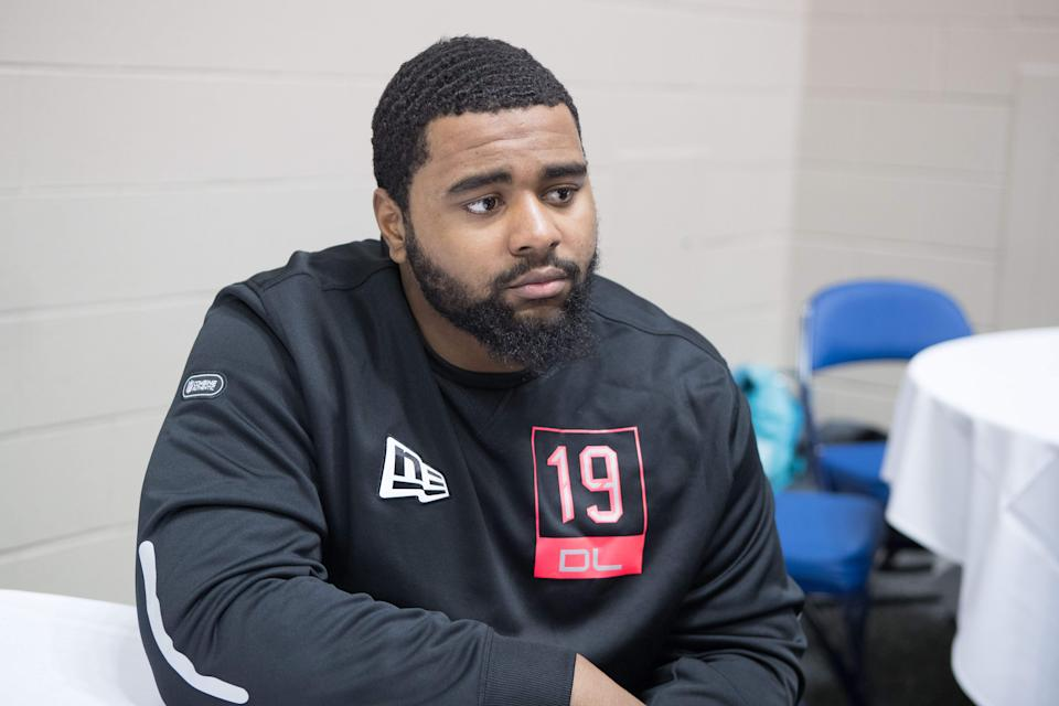 Feb 27, 2020; Indianapolis, Indiana, USA;  Texas Tech defensive lineman Broderick Washington (DL19) speaks to the media during the 2020 NFL Combine in the Indianapolis Convention Center. Mandatory Credit: Trevor Ruszkowski-USA TODAY Sports