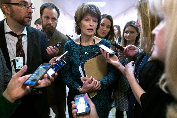 Sen. Lisa Murkowski, R-Alaska, talks with reporters at the U.S. Capitol. (Photo: Chip Somodevilla/Getty Images)