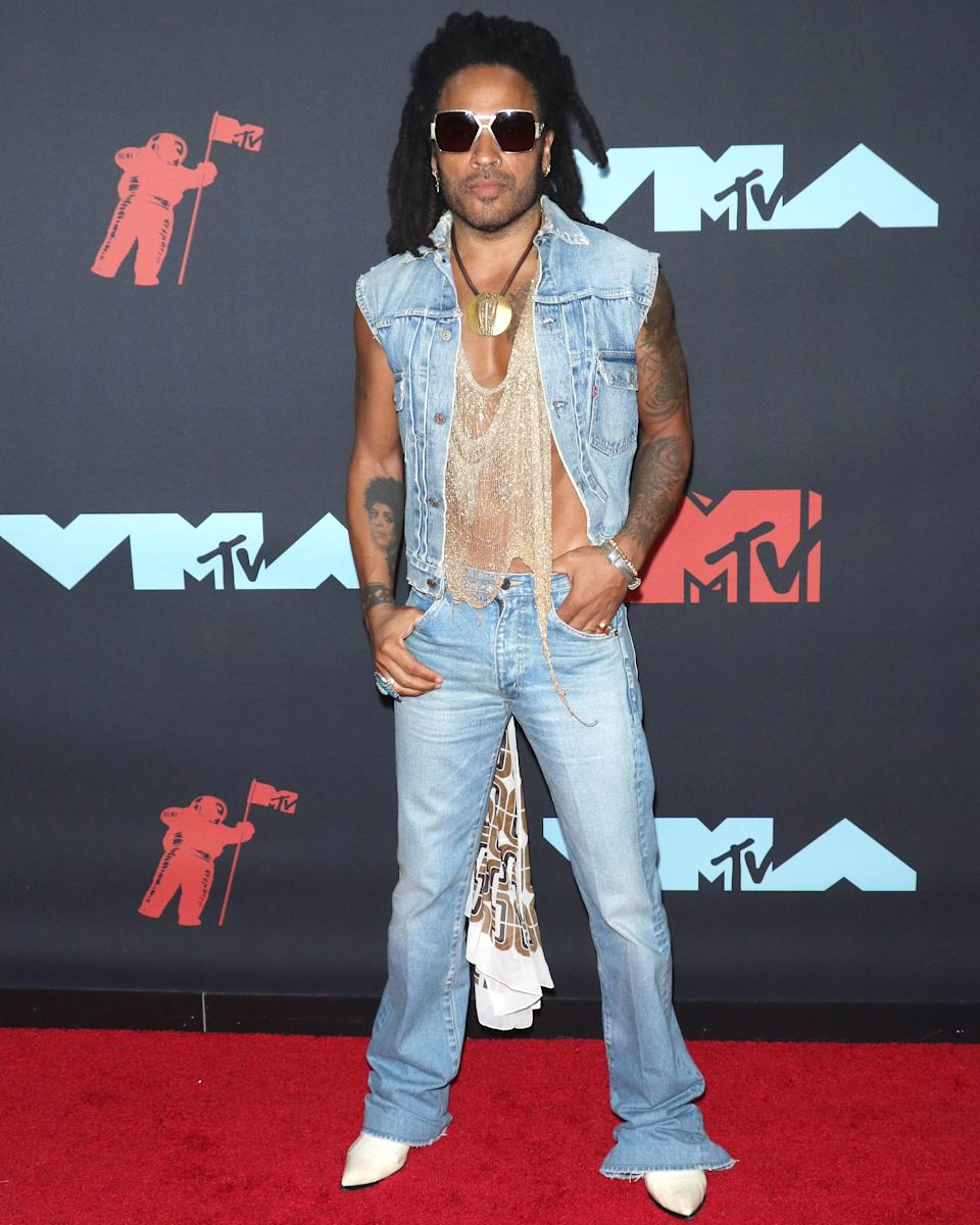 """<h1 class=""""title"""">August 27: Lenny Kravitz</h1> <div class=""""caption""""> Lenny Kravitz hits the VMAs red carpet in an outfit that would have looked righteous in 1999—and honestly looks even better in 2019. </div> <cite class=""""credit"""">Getty Images</cite>"""