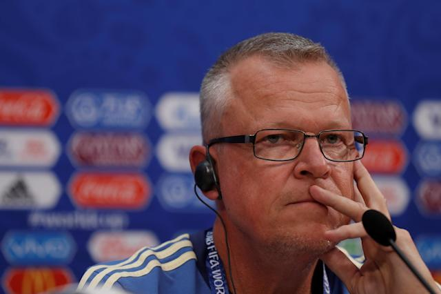 Soccer Football - World Cup - Sweden Press Conference - Nizhny Novgorod Stadium, Nizhny Novgorod, Russia - June 17, 2018 Sweden coach Janne Andersson during the press conference REUTERS/Carlos Barria