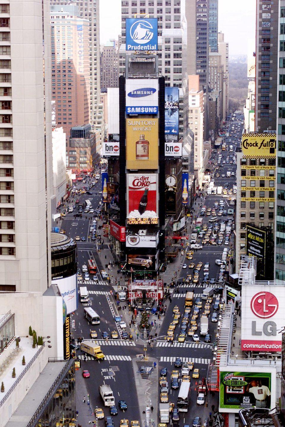 <p>Scenes from the ever-changing signs of Times Square. </p>