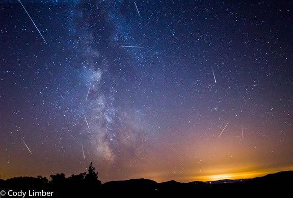 Night sky photographer Cody Limber assembled this amazing mosaic of the 2013 Perseid meteor shower during four nights of observing from his deck on Orcas Island in Washington. The bright, nearly full moon will interfere with the peak of the 201