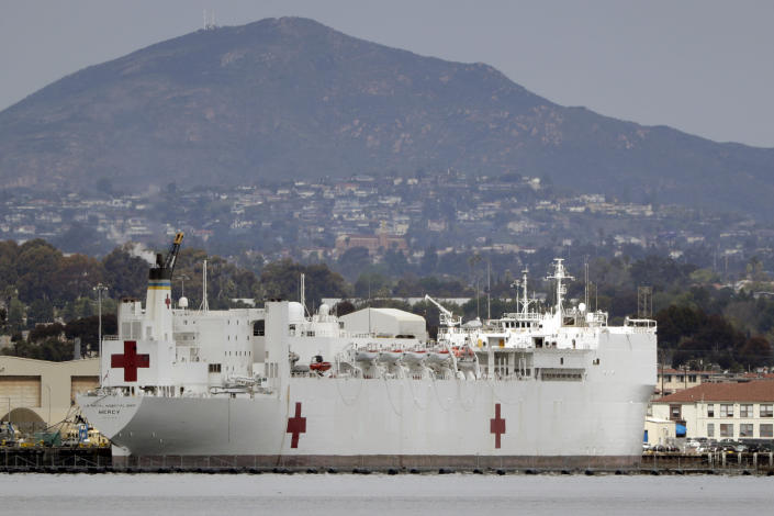 The USNS Mercy docked at Naval Base San Diego on Wednesday. (Gregory Bull/AP)