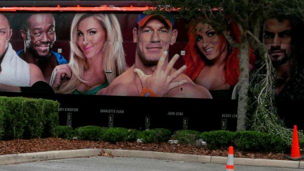 PHOTO: A trailer set up near a satellite truck to transmit wrestling broadcasts is parked outside the WWE Performance Center, April 14, 2020, in Orlando, Fla.  (John Raoux/AP, FILE)