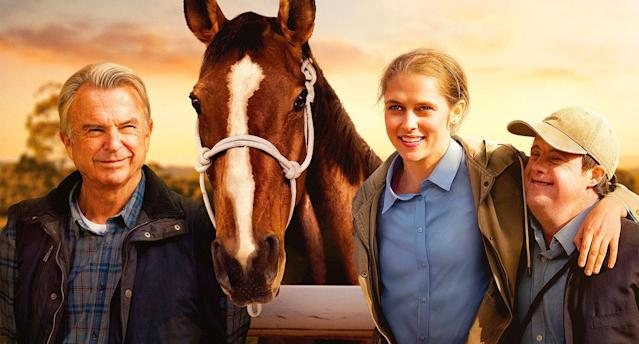 Detail from the poster for <em>Ride Like A Girl</em>, featuring (L-R) Sam Neill, Teresa Palmer, and Stephen Payne. (Lionsgate)