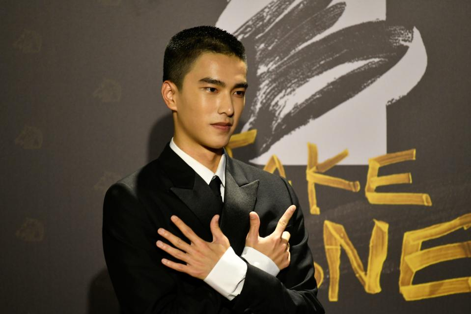 Taiwanese actor Tseng Jing-Hua arrives on the red carpet at the 57th Golden Horse film awards, dubbed the Chinese 'Oscars', in Taipei on November 21, 2020. (Photo by SAM YEH / AFP) (Photo by SAM YEH/AFP via Getty Images)