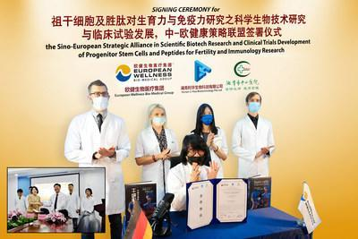 Prof. Dr. Mike Chan (sitting) with European Wellness' medical practitioners (from left), Dr. Vladimir Chernykh, Dr. Margaryta Iemelianova, Dr. Pan Shing Yi and Dr. Simon Yefimov. (PRNewsfoto/European Wellness Biomedical Group)