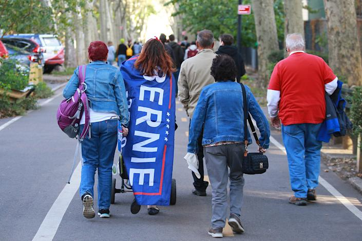 Supporters head home  after attending the Bernie's Back Rally in Long Island City, New York on Saturday, Oct. 19, 2019. (Photo: Gordon Donovan/Yahoo News)