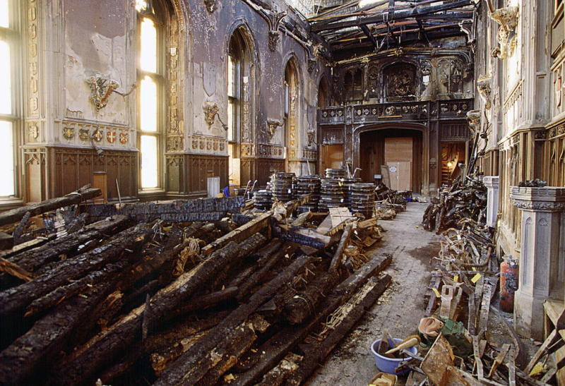 The Inside Of St George's Hall, Windsor Castle on January 14, 1993, after the fire in November | Tim Graham —Getty Images