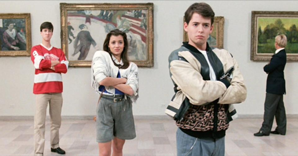 "LOS ANGELES - JUNE 11: The movie ""Ferris Bueller's Day Off"", written and directed by John Hughes. Seen here from left, Alan Ruck as Cameron Frye, Mia Sara as Sloane Peterson and Matthew Broderick as Ferris Bueller in the Art Institute of Chicago. Initial theatrical release June 11, 1986.  Screen capture. Paramount Pictures. (Photo by CBS via Getty Images)"