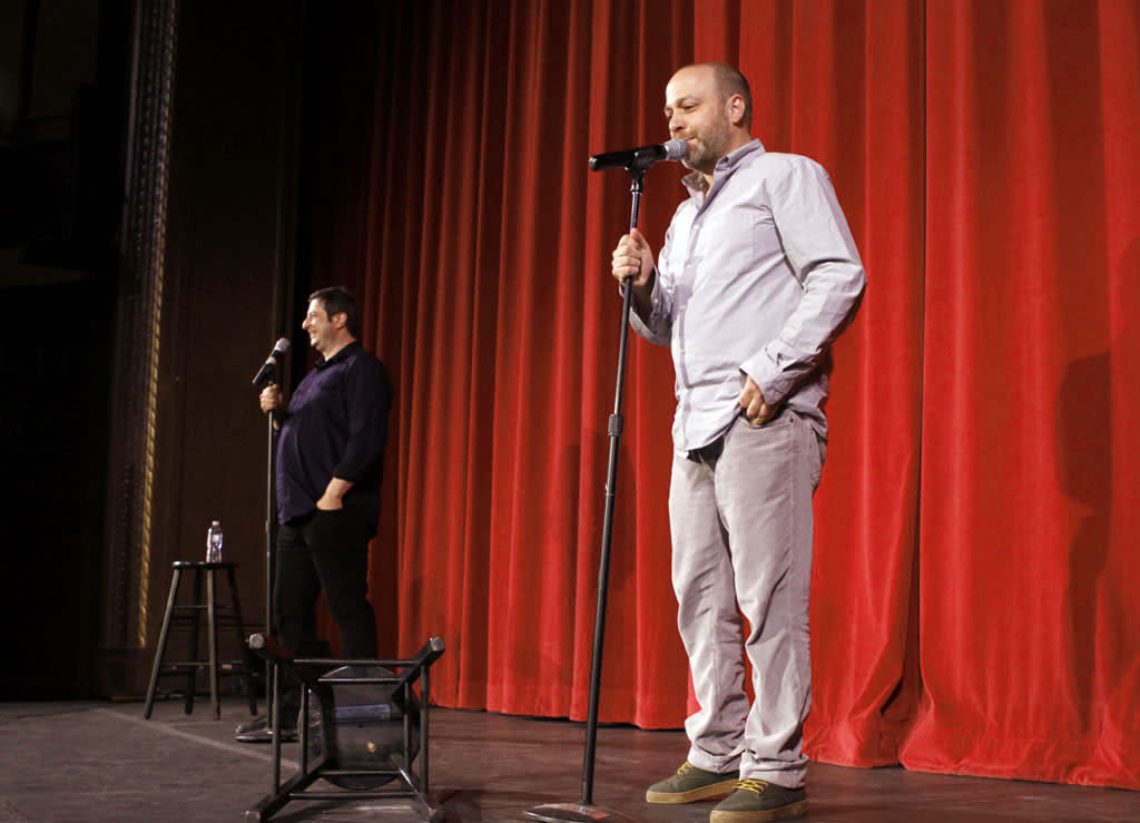 "Cast members Eugene Mirman and H. Jon Benjamin perform during ""Bob's Burgers Live!""  at the WIlshire Ebell Theatre on Tuesday, May 7 in Los Angeles, CA."