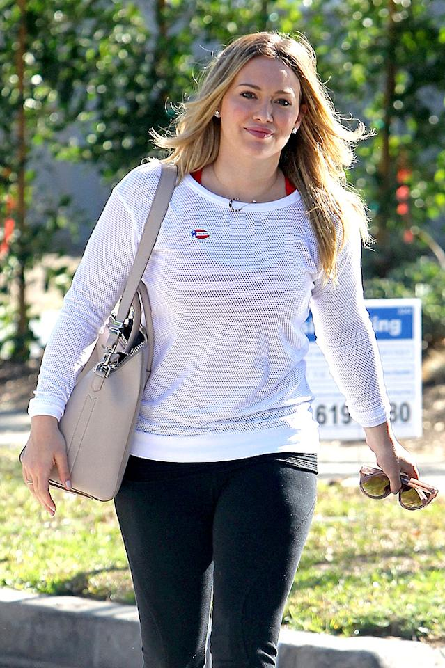 Hilary Duff proudly shows off her 'I Voted' sticker after voicing her opinion with mother Susan in Los Angeles