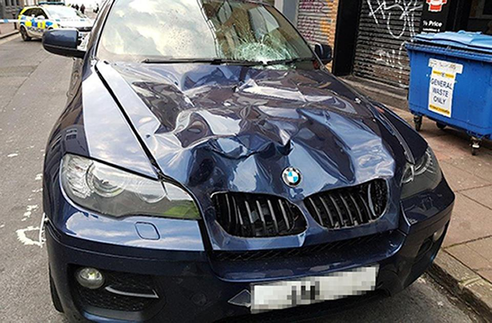 The BMW was driven at Delgado and two friends. (PA/Sussex Police)
