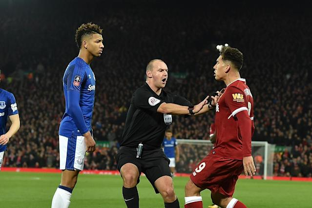 Liverpool's Roberto Firmino cleared by FA over clash with Everton's Mason Holgate