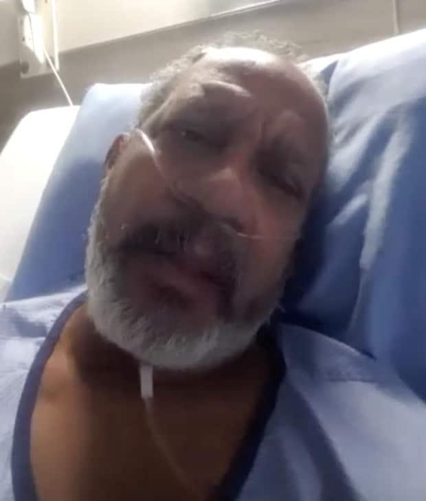 Delio Delgado, 51, says he has been in the hospital since March 13 battling COVID-19 and is months behind on rent as he tries to survive in a Hamilton hospital. (Bobby Hristova/CBC - image credit)