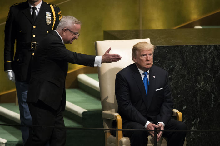 <p>President Trump arrives to address the United Nations General Assembly at U.N. headquarters, Septe. 19, 2017, in New York City. Among the issues facing the assembly this year are North Korea's nuclear developement, violence against the Rohingya Muslim minority in Myanmar and the debate over climate change. (Photo: Drew Angerer/Getty Images) </p>