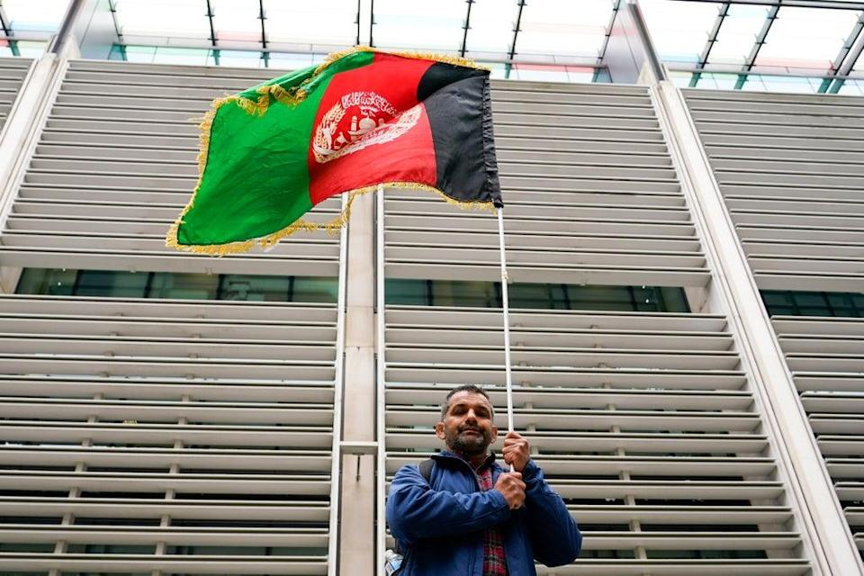Protest by Afghanistan interpreters for the British Army (AP)